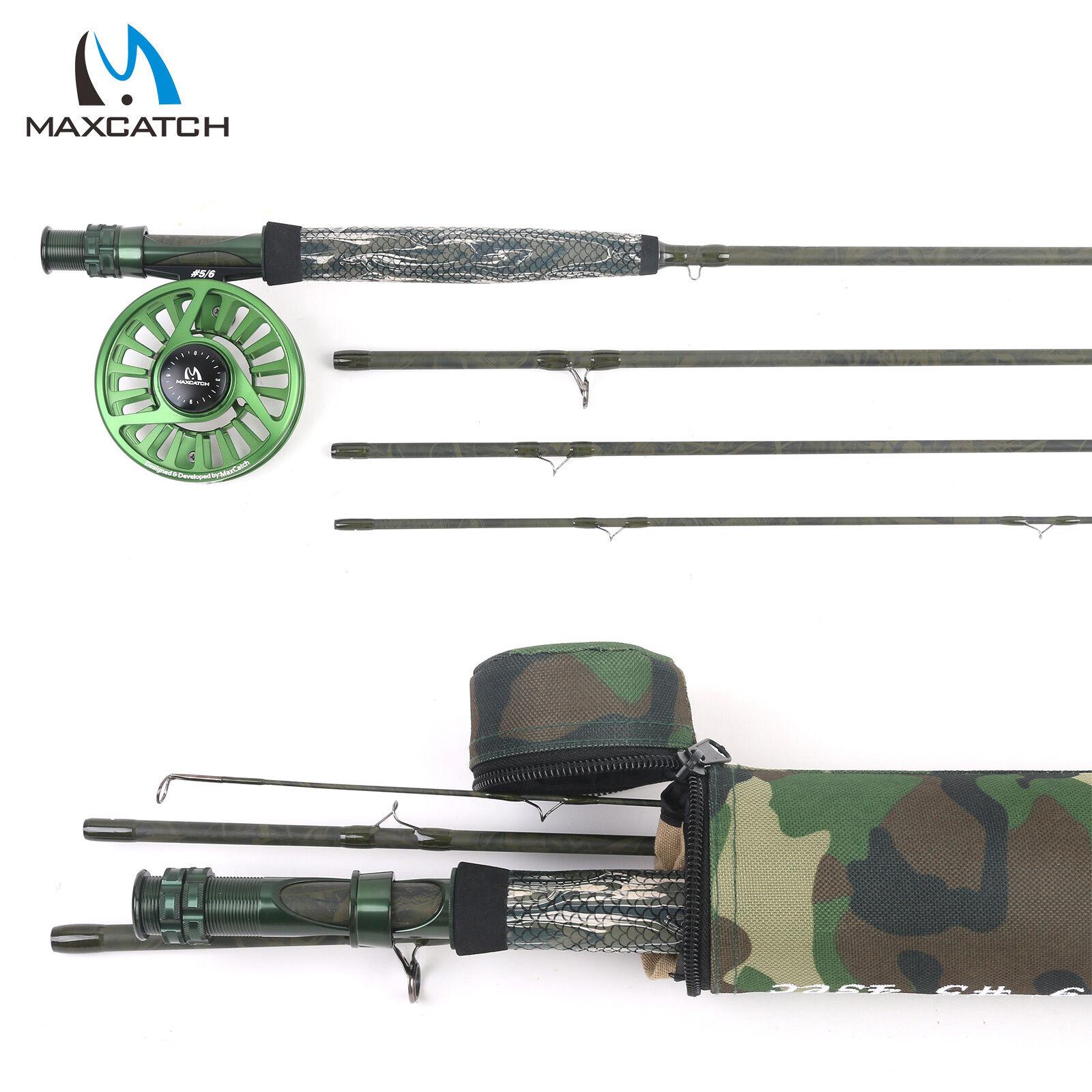 Rod & Cocherete mosca Camo Combo 9' 5WT 4Sec 5 6WT acción rápida Cocherete de pesca con mosca verde