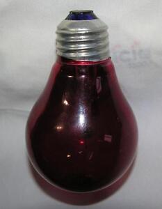 VTG-MID-CENTURY-RED-ELECTRIC-LIGHT-BULB-COBALT-GLASS-amp-ALUMINUM-BASE-WORKS