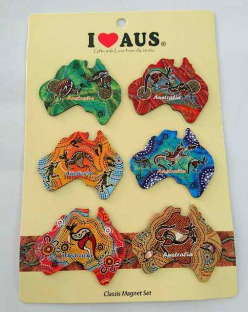 24pc Australia Souvenir Fridge Magnets Australian Map Assorted Design Aboriginal