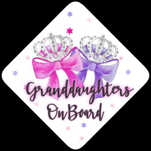 Granddaughters on Board,Child Baby On Board Car sign Pink /& Purp Bows Non Pers