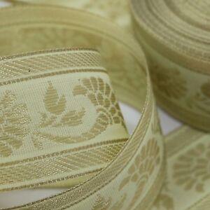Passamano-Sari-Bordura-orientale-4cm-Sari-ribbon-India-Pezzi-speciali-Vaniglia