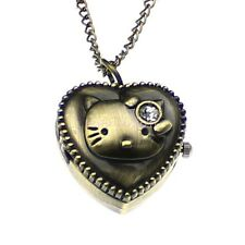 Women's Quartz Bronze Tone Kitty Pocket Watch Locket Heart Pendant Necklace Gift