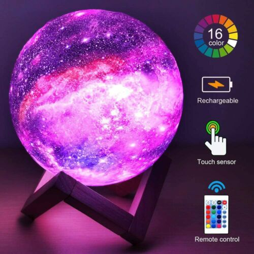 Details about  /Hyodream 3d Moon Lamp Kids Night Light Galaxy Lamp 16 Colors Led Light with Rech