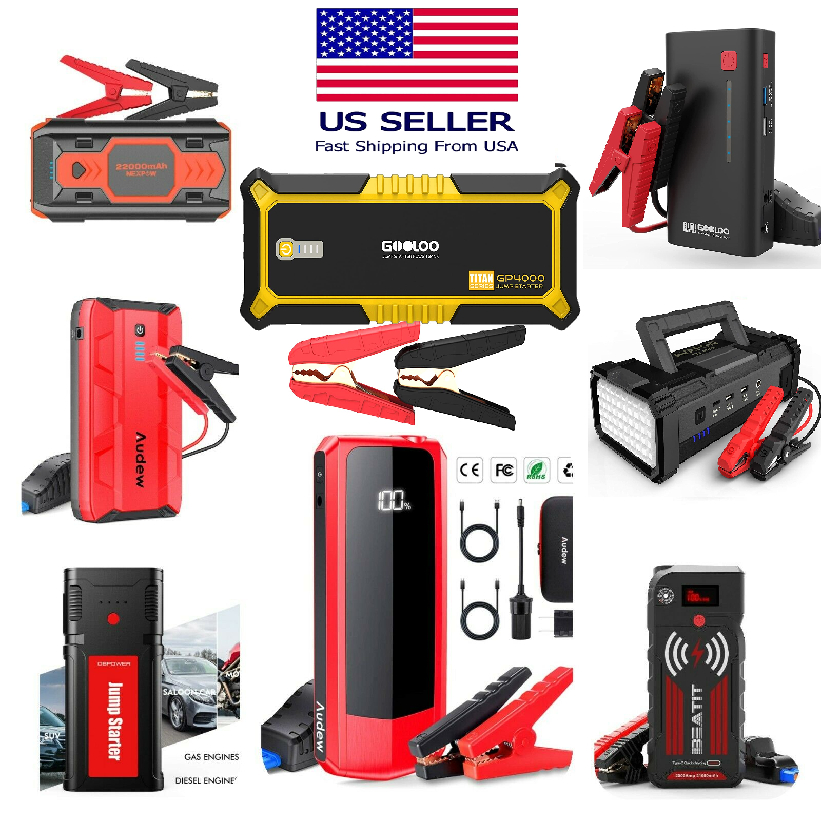 ⚡ NEW 12V Peak Car Jump Start Box Power Bank Battery Portable Mobile Charger