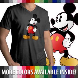 Classic-Retro-Original-Disney-Mickey-Mouse-Mens-Unisex-Top-Tee-V-Neck-T-Shirt