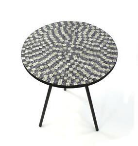 Mosaik-Glas Tisch rund Ø 40,5 x 48cm - Beistelltisch Couchtisch Deko verziert