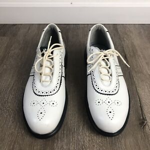 Ecco White Leather Soft Spikes Arch