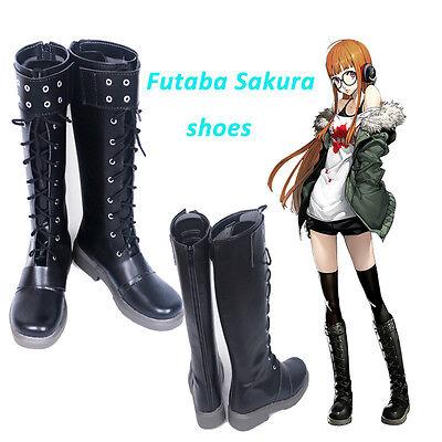 Allten Womens Persona 5 Futaba Sakura Halloween Boots Shoes Cosplay Costume