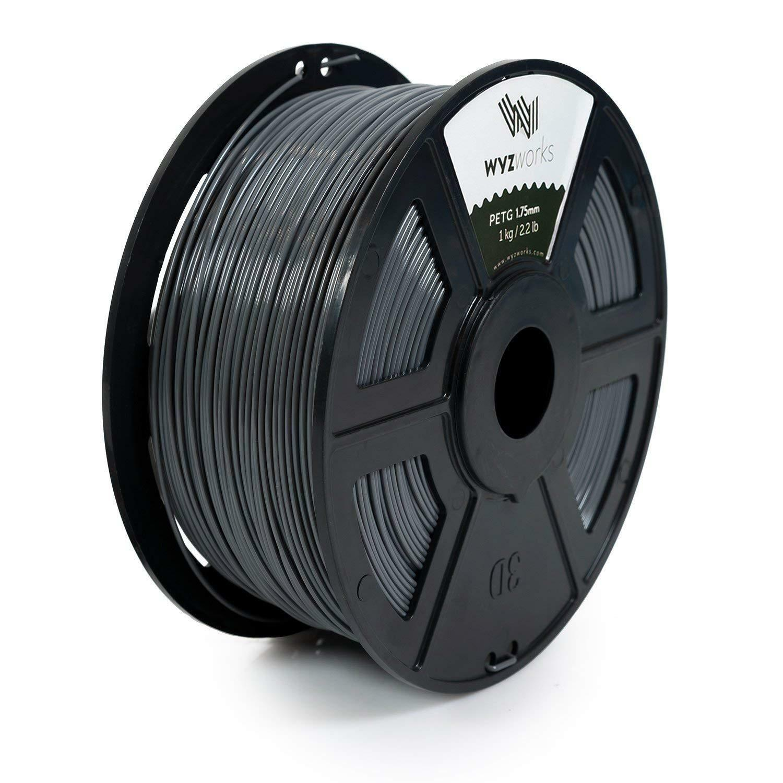 WYZworks 3D Printer Premium PETG Filament 1.75mm 1kg/2.2lb - LIGHT GRAY