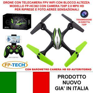 DRONE QUADRICOTTERO RADICOMANDATO WIFI HC632 CAMERA HD 2.0MPX VIDEO FOTO LED USB