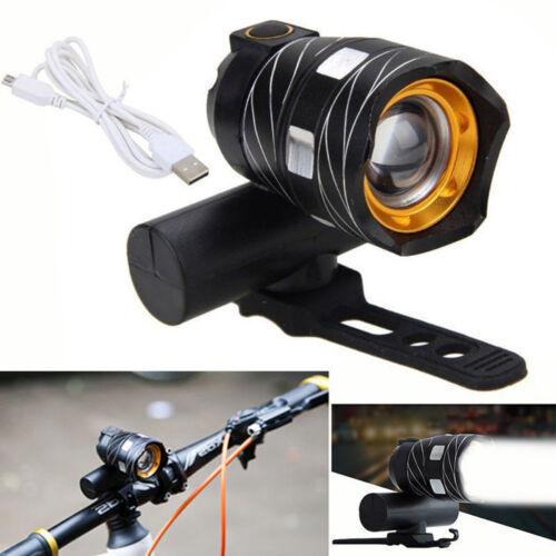 USB Rechargeable XML T6 LED Bicycle Bike Light Front Headlight Lamp White Light