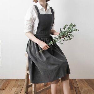 femmes-Bavoir-tabliers-coton-lin-Robe-chasuble-cafe-cuisine-Fleuriste-Retro