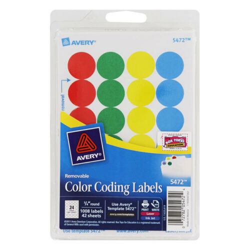 """Avery Printable Removable Color-Coding Labels 3//4/"""" Dia Assorted 1008//pack"""