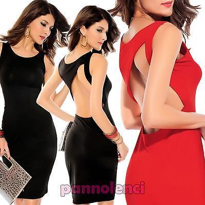 Vestito donna miniabito nero aderente schiena nuda elegante nuovo DL-1204
