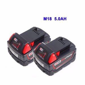 2x-MILWAUKEE-battery-M18-B5-18V-5-0Ah-Red-Lithium-Ion-48-11-1828-M18B5-C18B-FR