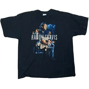 Randy-Travis-Live-2001-Shirt-Sz-2XL-Black-Double-Sided-Short-Sleeve-Tee