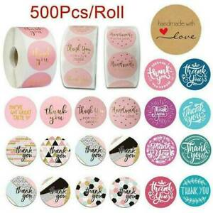 500Pcs Thank You Stickers Hand Made With Love Labels Round-Heart Stickers