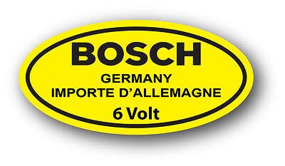 Vintage Style BOSCH Germany Round 6V Battery Sticker Decal