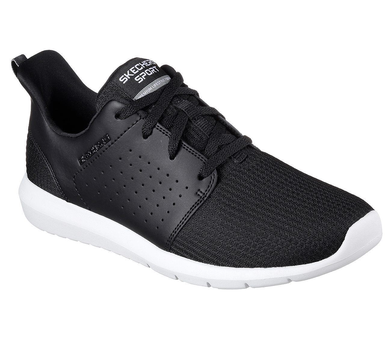 SKECHERS Men's Foreflex lace up walking and training sneaker in Black White