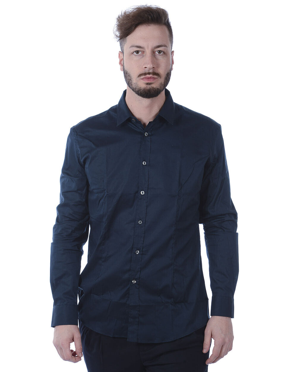 Daniele Alessandrini Shirt Cotton Man Blau C1507B7513700 23 Sz. 41 PUT OFFER