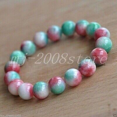 jade set 12mm light pink jade necklace stretch bracelet /& earrings set