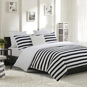 Image Is Loading Black White Striped Duvet Cover Set Comforter Covering