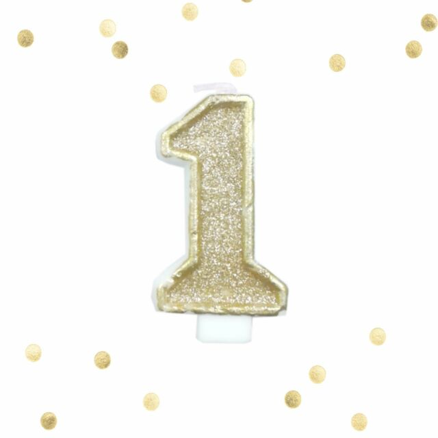 Light Gold Glitter 1st Birthday Candle Number 1 White One Smash Cake Topper