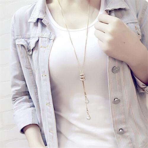 Women Rhinestone Crystal Faux Pearl Tassels Long Necklace Sweater Chain G