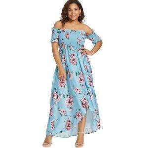 Details about New Plus Size Blue Floral Print Empire Waist Bohemian Dress  size 20 US Seller