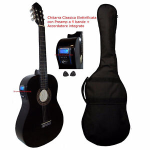 Chitarra-Classica-Nera-4-4-Amplificata-Elettro-acustica-Pre-4b-Accordatore-Borsa