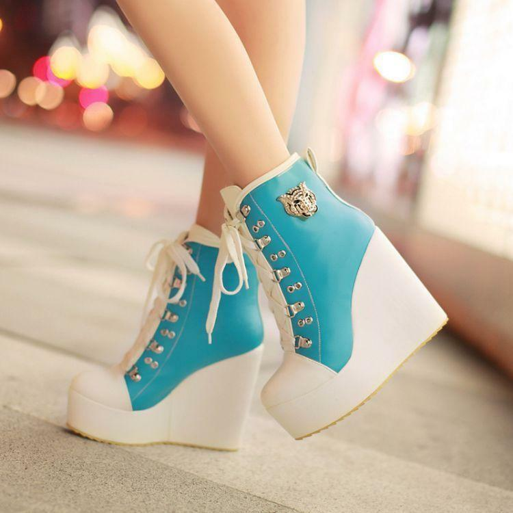 Womens blueckle Lace Up Wedge High Heels Platform Boots Sneakers shoes Plus 10.5