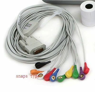 Snap Button Banana Shaped electrodes ECG EKG Machine Cable Electrocardiograph