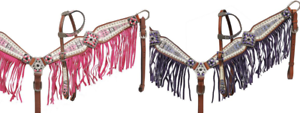 Showman BEJEWELED AZTEC Leather Bridle SUEDE FRINGE Breast Collar Reins Set