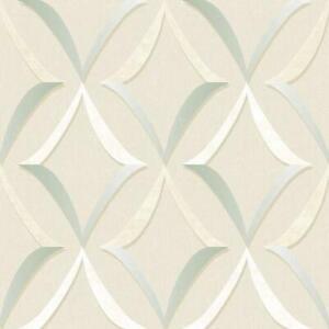 Wallpaper-Designer-Aqua-Cream-Tan-White-Trellis-on-Beige-Faux
