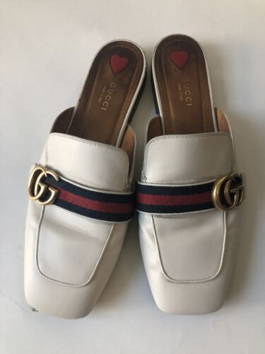 Gucci White Leather Loafers (Pre-owned)