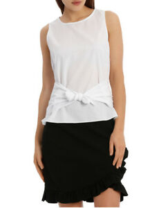NEW-Tokito-Knot-Front-Sleeveless-Top-White
