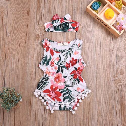 Summer Infant Baby Boys/&Girls Sleeveless Flower Print Romper Jumpsuit+Headband