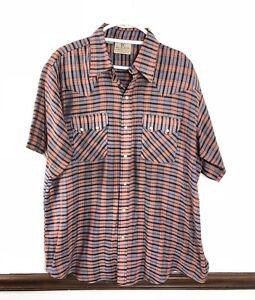 Vtg-Dee-Cee-Brand-Mens-Pearl-Snap-Shirt-Sz-17-1-2-Short-Sleeve-Western-Striped