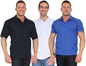 4675fb4fb Details about MENS PLAIN POLO SHIRT 4XL & 5XL - WHITE, ROYAL BLUE, NAVY BLUE