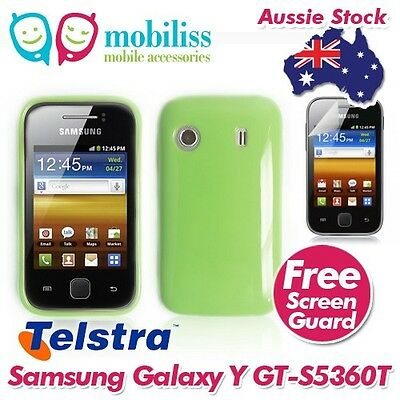 Green TPU Gel Jelly Case Cover for Telstra Samsung Galaxy Y GT S5360T
