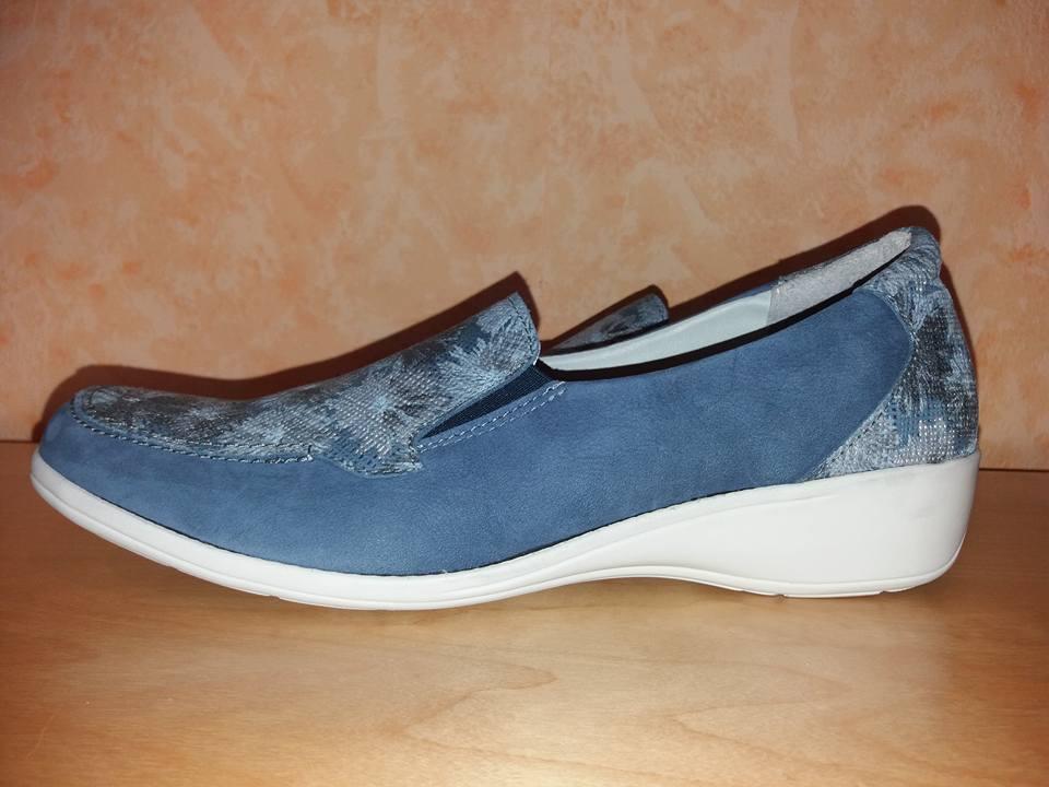 Aco Slipper NEU Gr. 42 jeansblau & floral floral & Leder edel & sehr bequem & leicht 415913