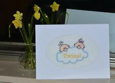 A New Machine Embroidered Hand Finished Birth Card for Twins -- Boy and Girl .