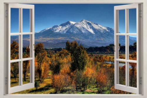 Montagnes 006 3D Window View Decal Wall Sticker Art Mural Nature vue panoramique