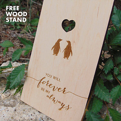 Valentine Wooden Love Card 5th Fifth Anniversary Gift Five Year Card