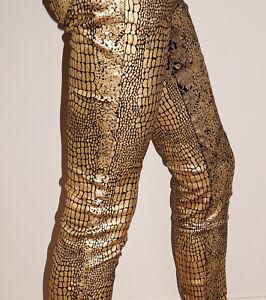 Gold-amp-Black-Metallic-Animal-Print-Jeans-Stretch-Low-Rise-Slim-Leg-14-W31-L32