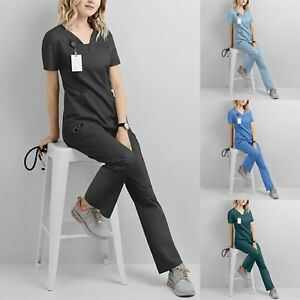 Men Women 2 PCS Suit Hospital Medical Doctor Nurse Scrubs Tunic Work Uniform
