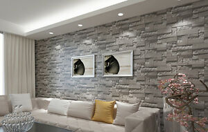 Grey Retro 3D Simulation Brick Stone Pattern Wallpaper TV Backdrop Living Roo