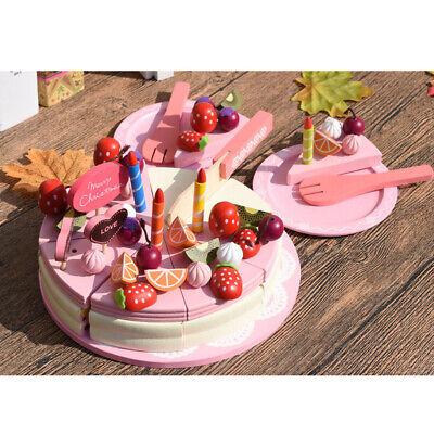 Sensational Wooden Fruit Birthday Cake Tableware Cutting Toys Kitchen Pretend Personalised Birthday Cards Veneteletsinfo
