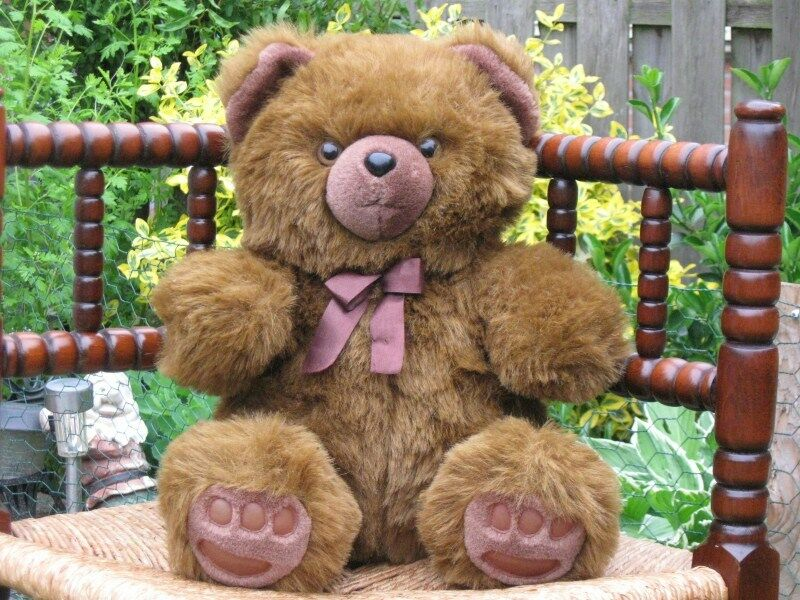 braun Sitting Teddy Bear Plush Vinyl Paw Pads Pads Pads Vendex Holland 99cbed