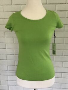 Rondina-New-York-Green-Short-Sleeve-Solid-Top-Silk-Blend-Size-Small